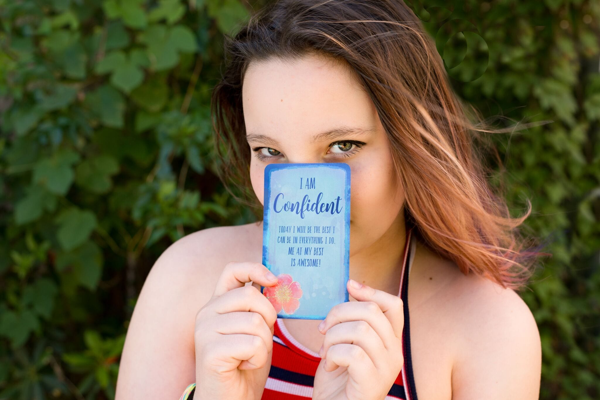"""I AM Confident. Asher Slocum — A Confident Young Lady, shows today's I AM Affirmation Card: """"Today, I will be the best I can in everything I do. Me at my best is awesome!"""""""